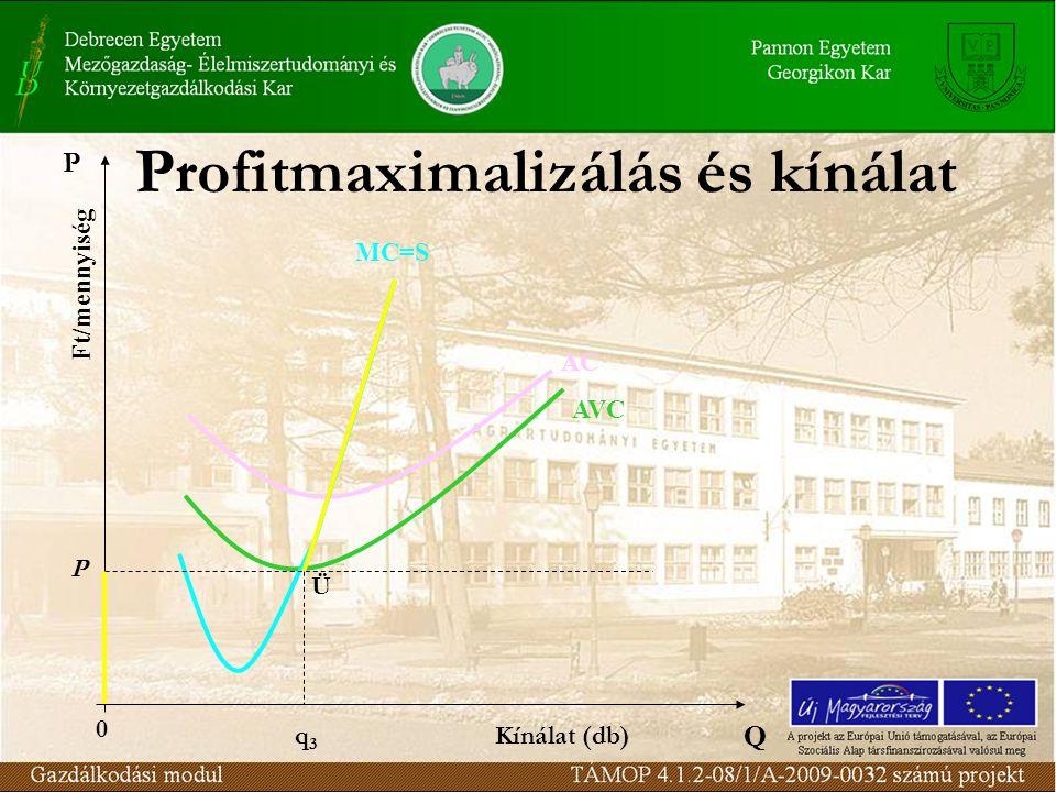 Profitmaximalizálás és kínálat Q Ft/mennyiség AVC AC MC=S P 0 P Ü q3q3 Kínálat (db)