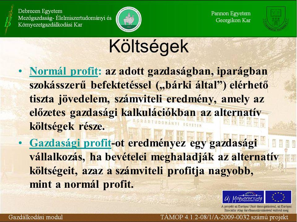 """Költségek Normál profit: az adott gazdaságban, iparágban szokásszerű befektetéssel (""""bárki által"""") elérhető tiszta jövedelem, számviteli eredmény, ame"""