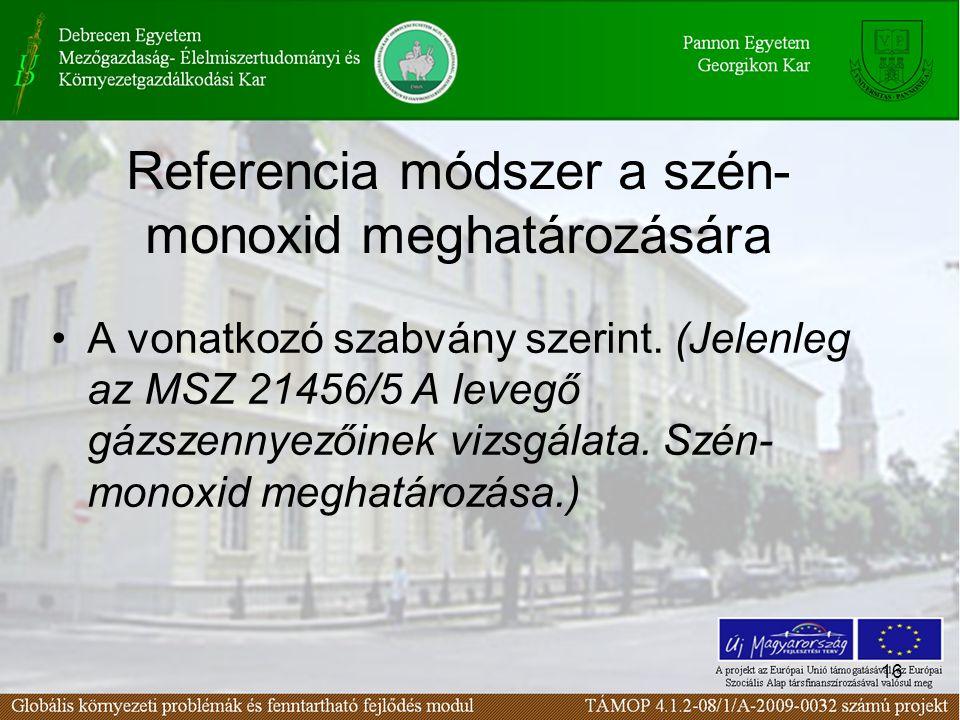16 Referencia módszer a szén- monoxid meghatározására A vonatkozó szabvány szerint.