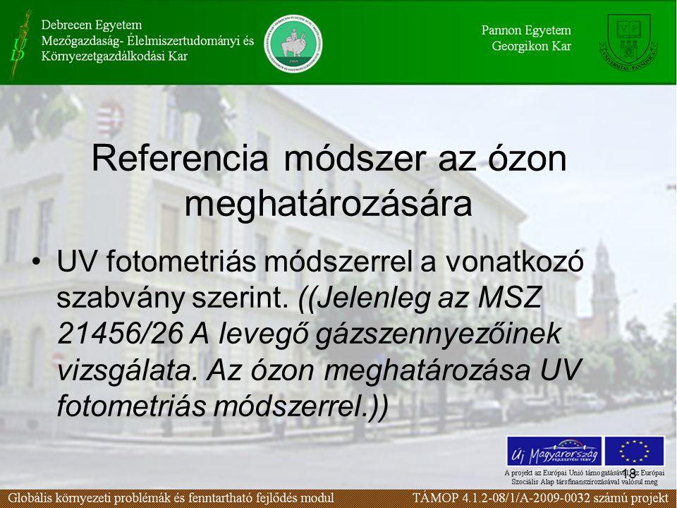18 Referencia módszer az ózon meghatározására UV fotometriás módszerrel a vonatkozó szabvány szerint.