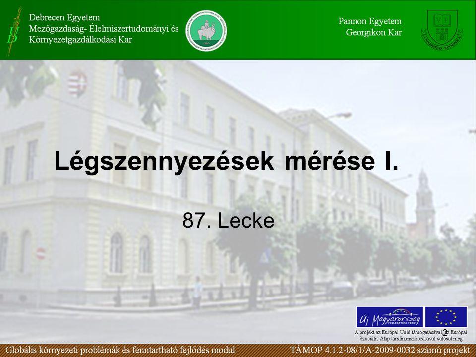2 Légszennyezések mérése I. 87. Lecke