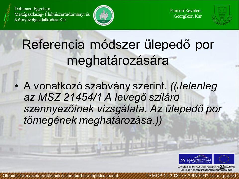 22 Referencia módszer ülepedő por meghatározására A vonatkozó szabvány szerint.