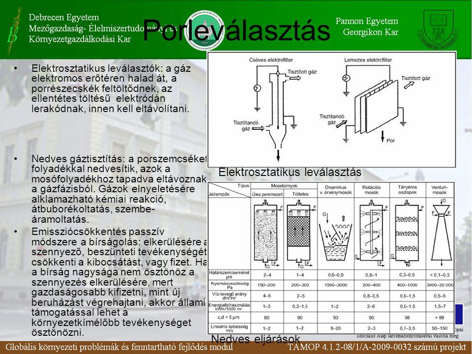 24 Porleválasztás Elektrosztatikus leválasztók: a gáz elektromos erőtéren halad át, a porrészecskék feltöltődnek, az ellentétes töltésű elektródán lerakódnak, innen kell eltávolítani.