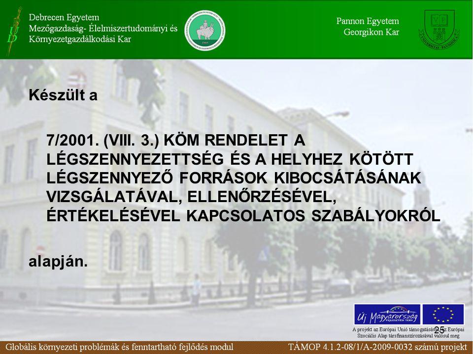 25 Készült a 7/2001.(VIII.