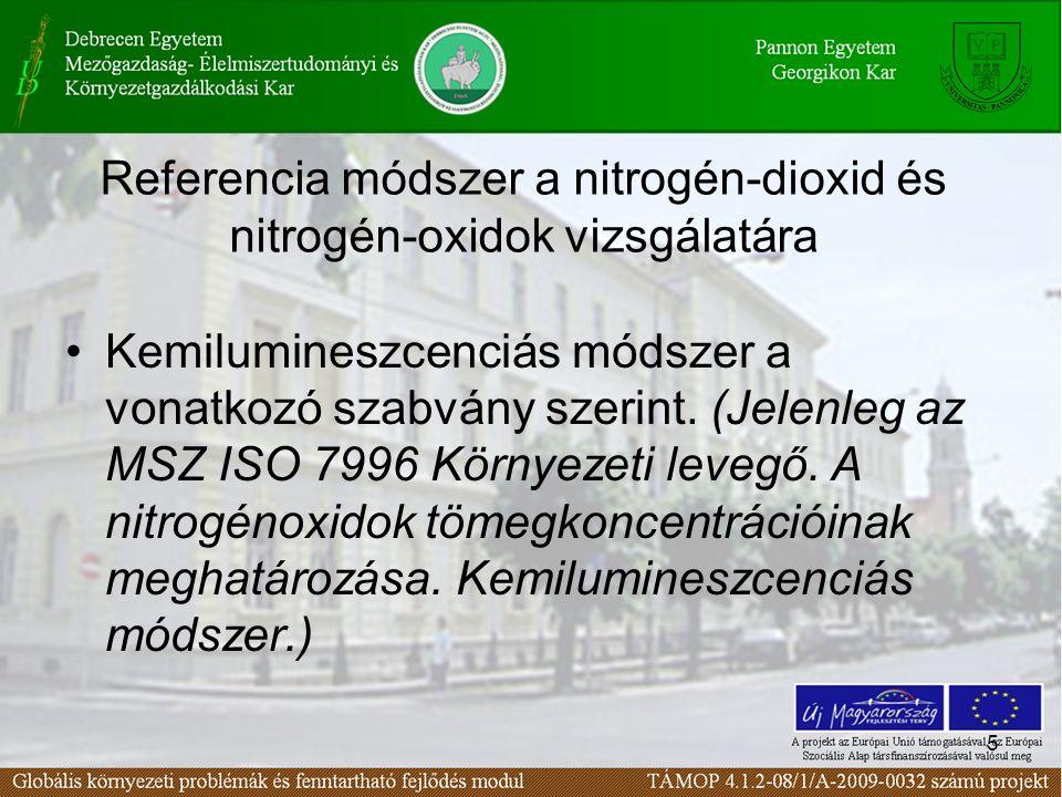 5 Referencia módszer a nitrogén-dioxid és nitrogén-oxidok vizsgálatára Kemilumineszcenciás módszer a vonatkozó szabvány szerint.