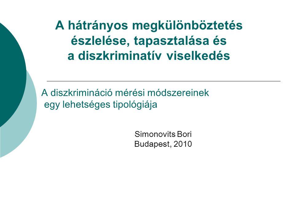 A hátrányos megkülönböztetés észlelése, tapasztalása és a diszkriminatív viselkedés Simonovits Bori Budapest, 2010 A diszkrimináció mérési módszereinek egy lehetséges tipológiája