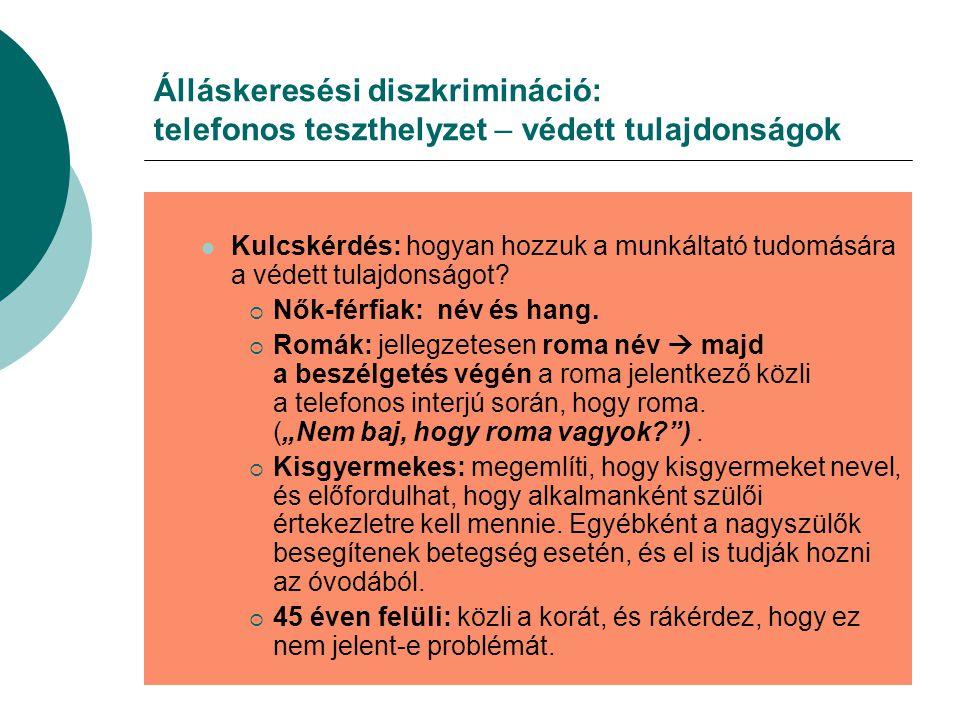 Álláskeresési diszkrimináció: telefonos teszthelyzet – védett tulajdonságok Kulcskérdés: hogyan hozzuk a munkáltató tudomására a védett tulajdonságot.