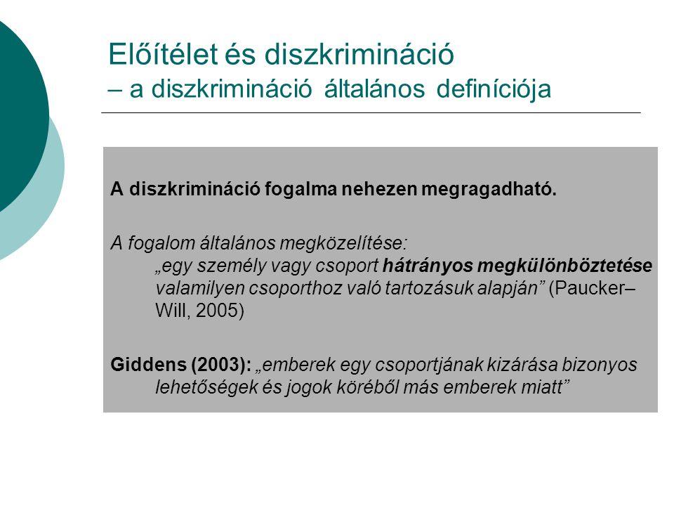 Előítélet és diszkrimináció – a diszkrimináció általános definíciója A diszkrimináció fogalma nehezen megragadható.