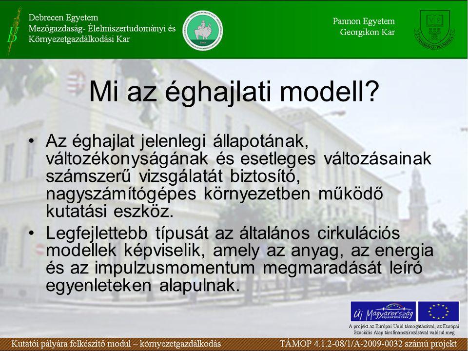 Mi az éghajlati modell? Az éghajlat jelenlegi állapotának, változékonyságának és esetleges változásainak számszerű vizsgálatát biztosító, nagyszámítóg