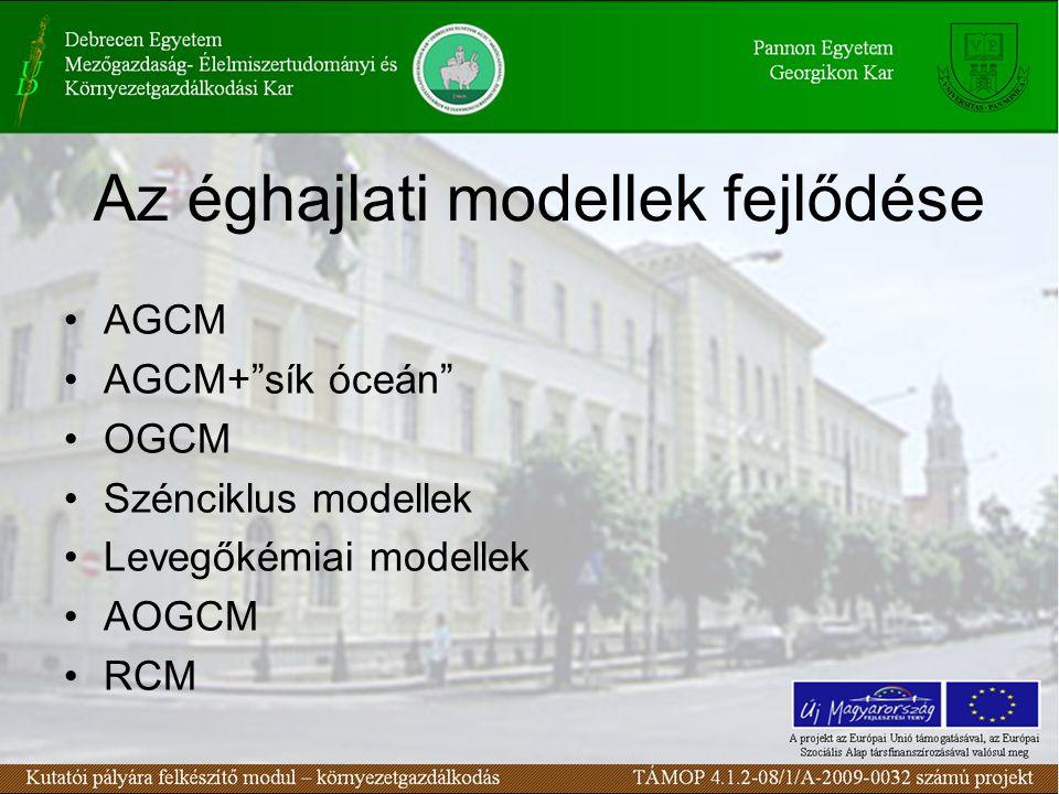 """Az éghajlati modellek fejlődése AGCM AGCM+""""sík óceán"""" OGCM Szénciklus modellek Levegőkémiai modellek AOGCM RCM"""