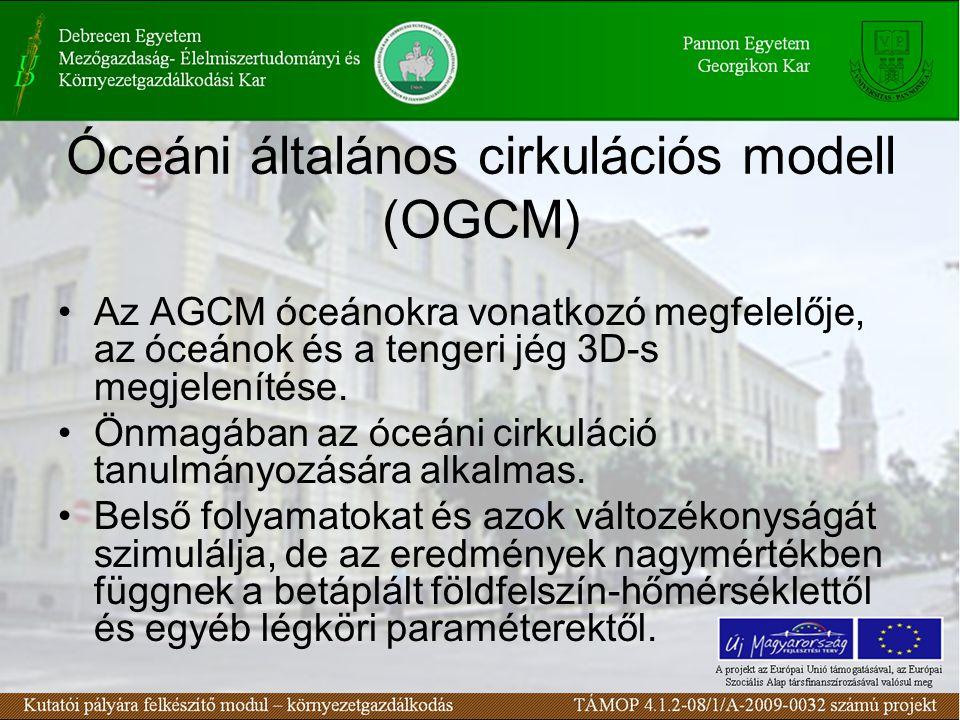 Óceáni általános cirkulációs modell (OGCM) Az AGCM óceánokra vonatkozó megfelelője, az óceánok és a tengeri jég 3D-s megjelenítése. Önmagában az óceán
