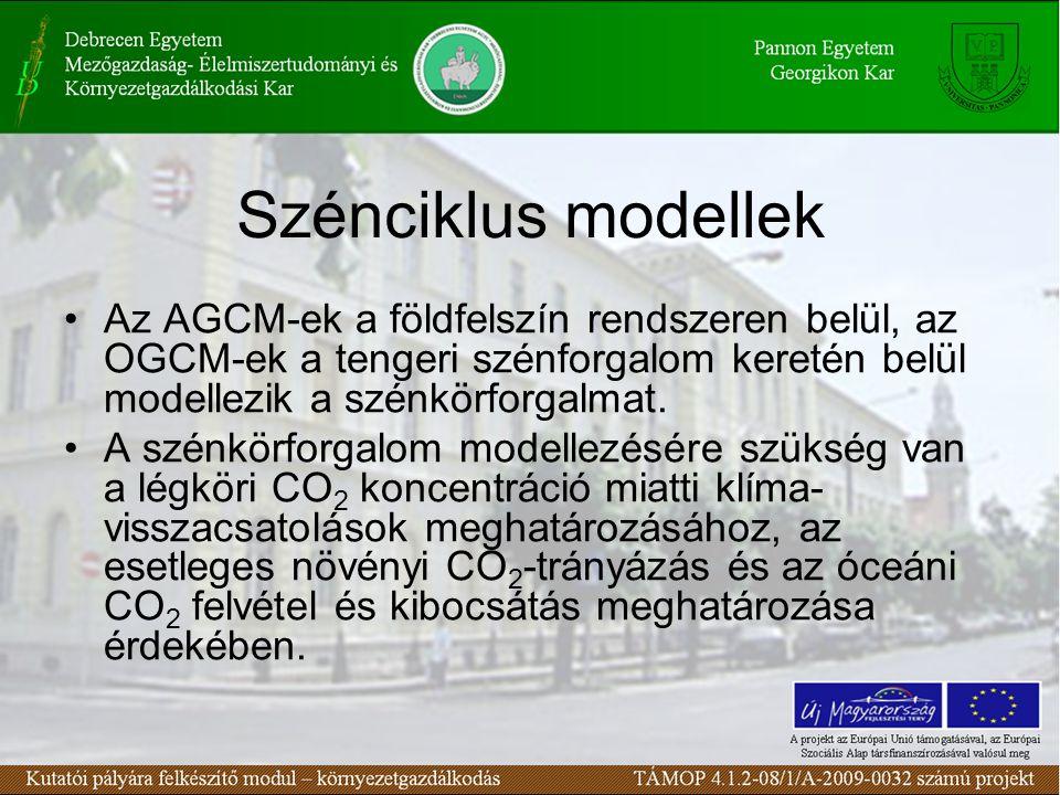 Szénciklus modellek Az AGCM-ek a földfelszín rendszeren belül, az OGCM-ek a tengeri szénforgalom keretén belül modellezik a szénkörforgalmat. A szénkö