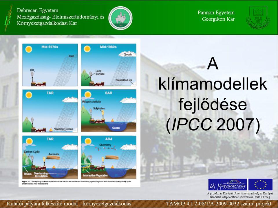 A klímamodellek fejlődése (IPCC 2007)
