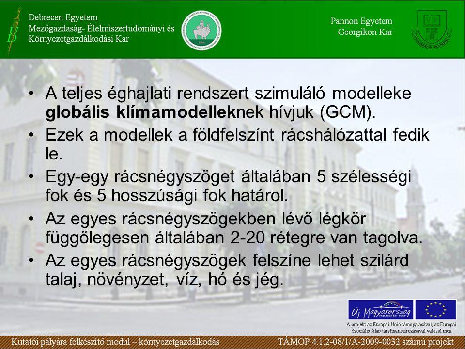 A teljes éghajlati rendszert szimuláló modelleke globális klímamodelleknek hívjuk (GCM). Ezek a modellek a földfelszínt rácshálózattal fedik le. Egy-e