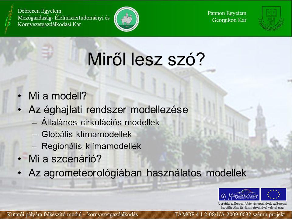 Miről lesz szó? Mi a modell? Az éghajlati rendszer modellezése –Általános cirkulációs modellek –Globális klímamodellek –Regionális klímamodellek Mi a