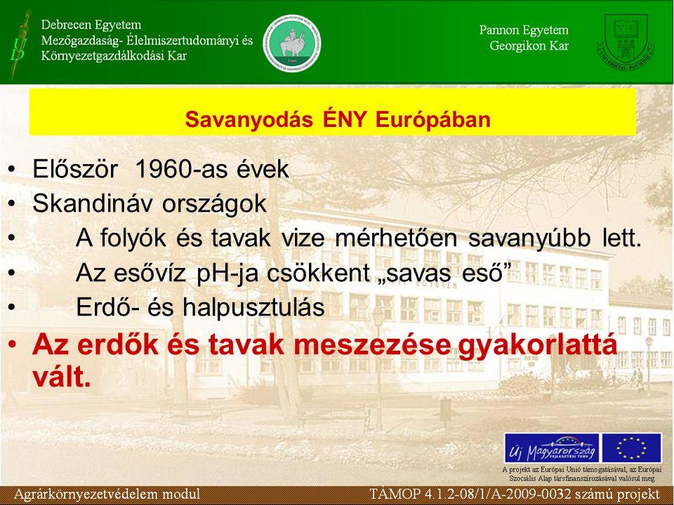 """Savanyodás ÉNY Európában Először 1960-as évek Skandináv országok A folyók és tavak vize mérhetően savanyúbb lett. Az esővíz pH-ja csökkent """"savas eső"""""""