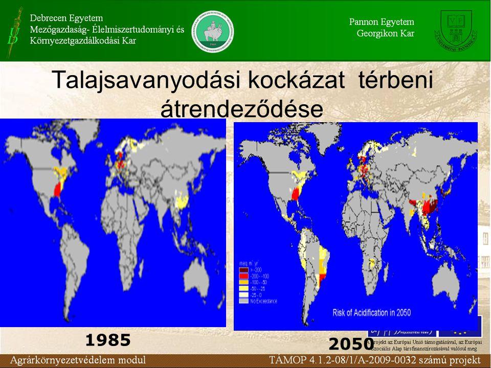 Talajsavanyodási kockázat térbeni átrendeződése 1985 2050