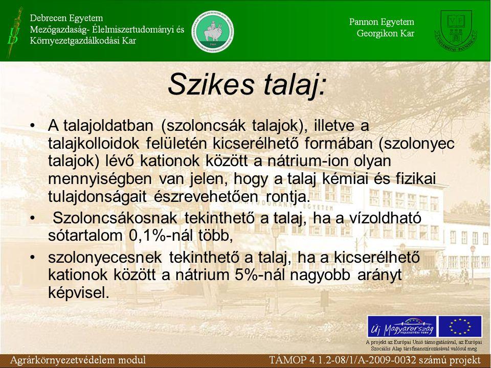 Szikes talaj: A talajoldatban (szoloncsák talajok), illetve a talajkolloidok felületén kicserélhető formában (szolonyec talajok) lévő kationok között