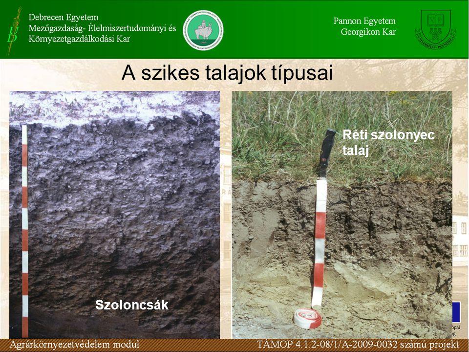 A szikes talajok típusai Réti szolonyec talaj Szoloncsák