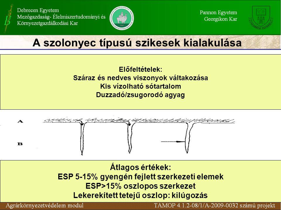 A szolonyec típusú szikesek kialakulása Előfeltételek: Száraz és nedves viszonyok váltakozása Kis vízolható sótartalom Duzzadó/zsugorodó agyag Átlagos