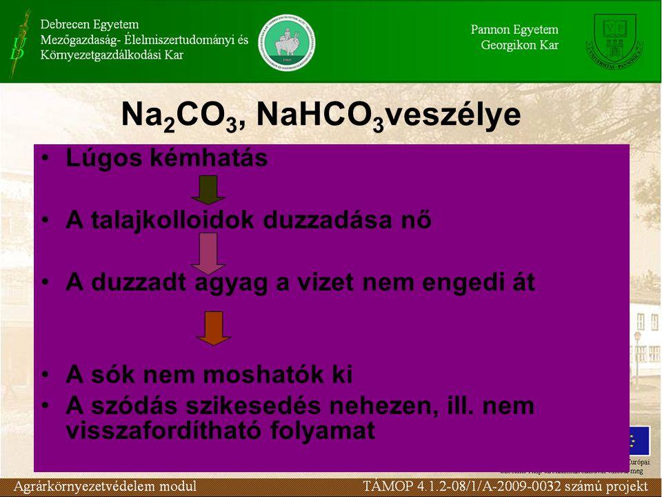 Na 2 CO 3, NaHCO 3 veszélye Lúgos kémhatás A talajkolloidok duzzadása nő A duzzadt agyag a vizet nem engedi át A sók nem moshatók ki A szódás szikesed