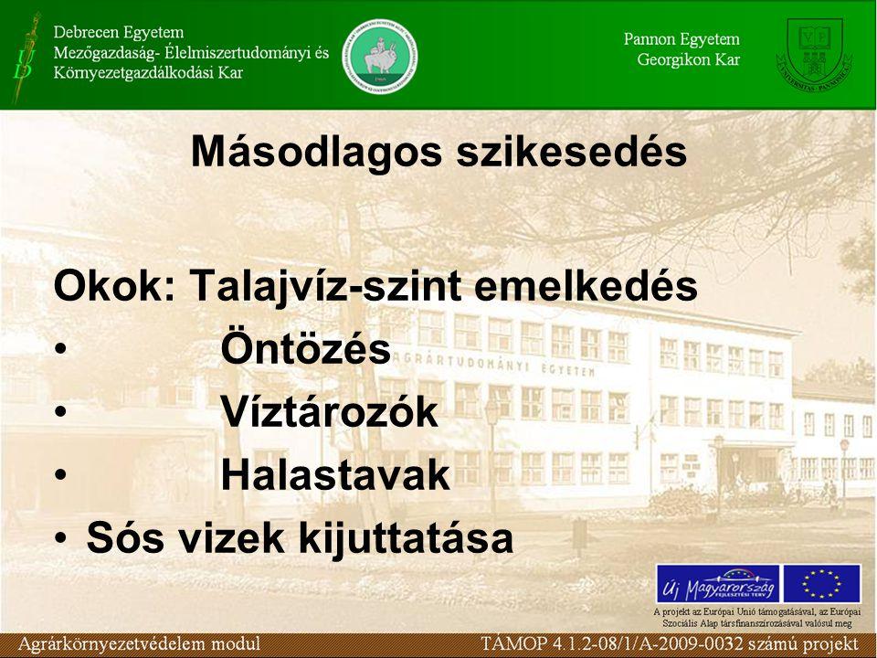 Másodlagos szikesedés Okok: Talajvíz-szint emelkedés Öntözés Víztározók Halastavak Sós vizek kijuttatása