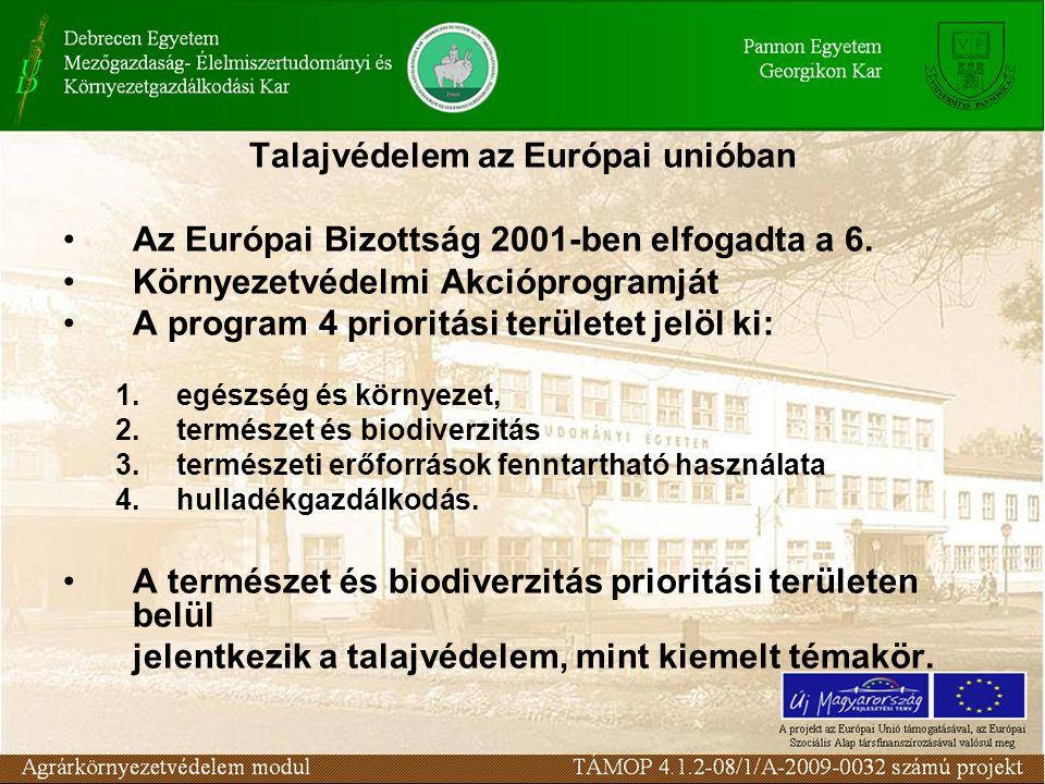Talajvédelem az Európai unióban Az Európai Bizottság 2001-ben elfogadta a 6. Környezetvédelmi Akcióprogramját A program 4 prioritási területet jelöl k