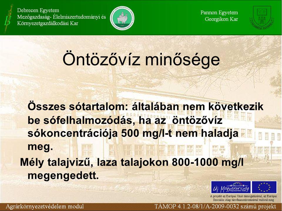 Öntözővíz minősége Összes sótartalom: általában nem következik be sófelhalmozódás, ha az öntözővíz sókoncentrációja 500 mg/l-t nem haladja meg. Mély t