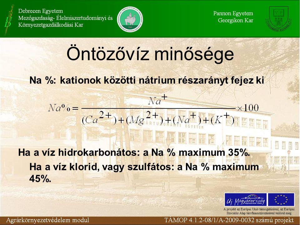 Öntözővíz minősége Na %: kationok közötti nátrium részarányt fejez ki Ha a víz hidrokarbonátos: a Na % maximum 35%. Ha a víz klorid, vagy szulfátos: a