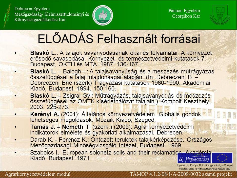 ELŐADÁS Felhasznált forrásai Blaskó L.: A talajok savanyodásának okai és folyamatai. A környezet erősödő savasodása. Környezet- és természetvédelmi ku