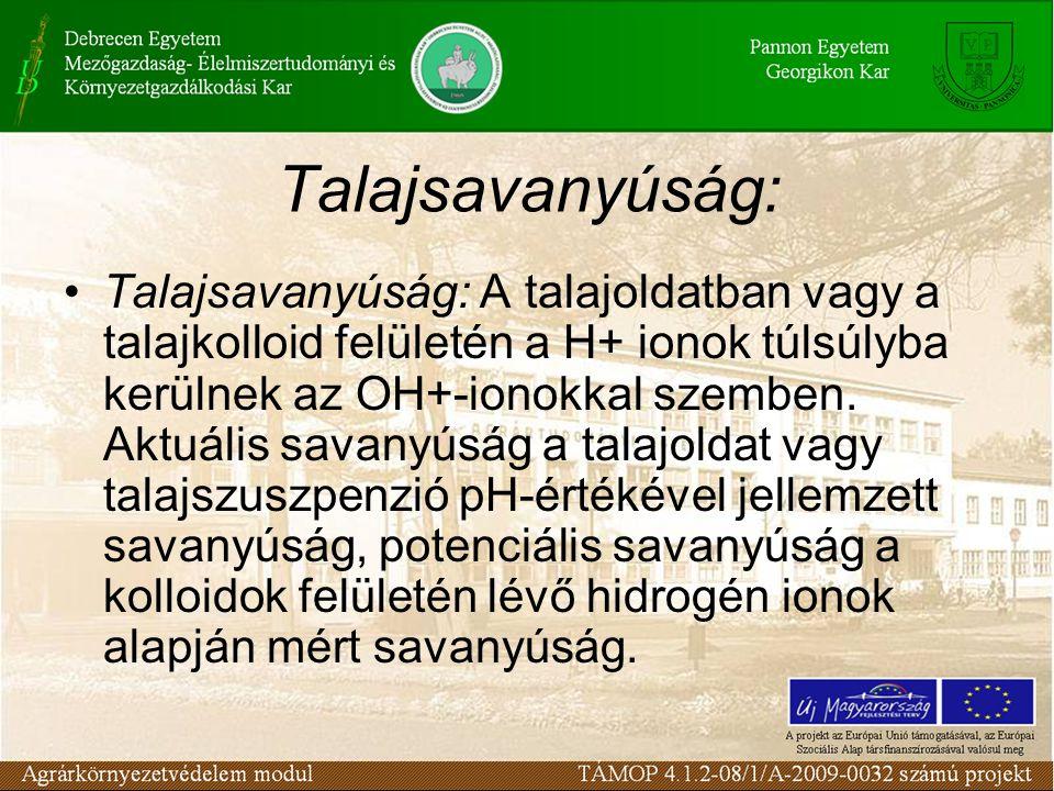 Talajsavanyúság: Talajsavanyúság: A talajoldatban vagy a talajkolloid felületén a H+ ionok túlsúlyba kerülnek az OH+-ionokkal szemben. Aktuális savany