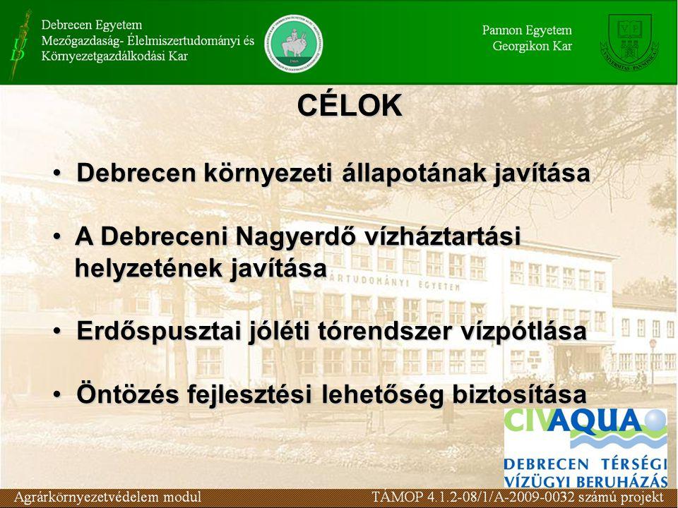CÉLOK Debrecen környezeti állapotának javítása Debrecen környezeti állapotának javítása A Debreceni Nagyerdő vízháztartási helyzetének javítása A Debreceni Nagyerdő vízháztartási helyzetének javítása Erdőspusztai jóléti tórendszer vízpótlása Erdőspusztai jóléti tórendszer vízpótlása Öntözés fejlesztési lehetőség biztosítása Öntözés fejlesztési lehetőség biztosítása