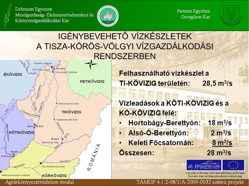 IGÉNYBEVEHETŐ VÍZKÉSZLETEK A TISZA-KÖRÖS-VÖLGYI VÍZGAZDÁLKODÁSI RENDSZERBEN Felhasználható vízkészlet a TI-KÖVIZIG területén: 28,5 m 3 /s Vízleadások a KÖTI-KÖVIZIG és a KÖ-KÖVIZIG felé: Hortobágy-Berettyón: 18 m 3 /s Alsó-Ó-Berettyón: 2 m 3 /s Keleti Főcsatornán: 8 m 3 /s Összesen: 28 m 3 /s