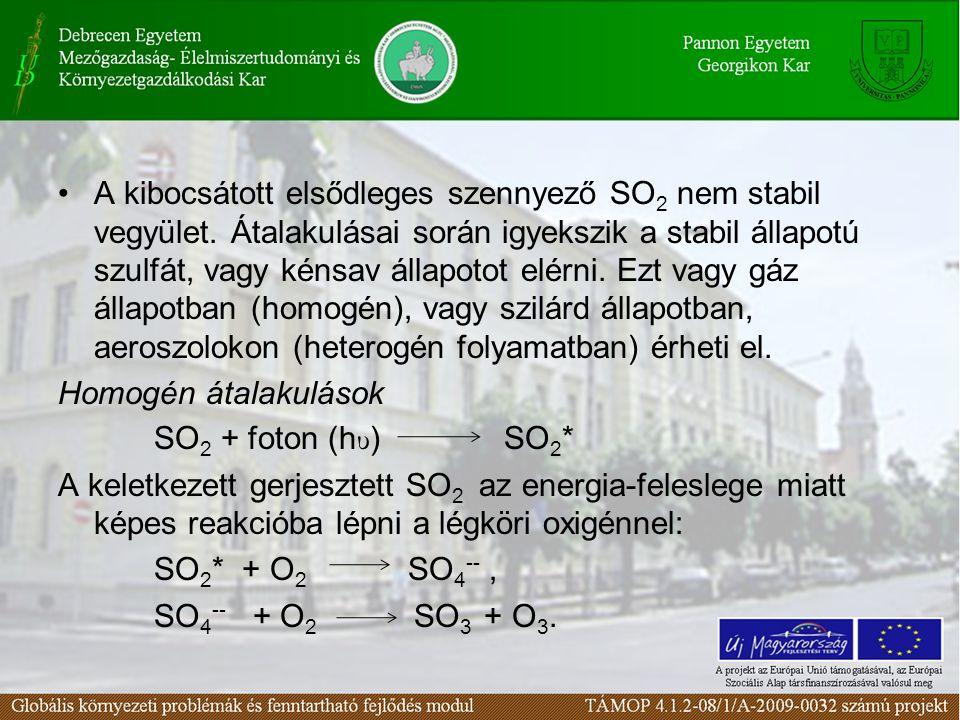 A kibocsátott elsődleges szennyező SO 2 nem stabil vegyület. Átalakulásai során igyekszik a stabil állapotú szulfát, vagy kénsav állapotot elérni. Ezt