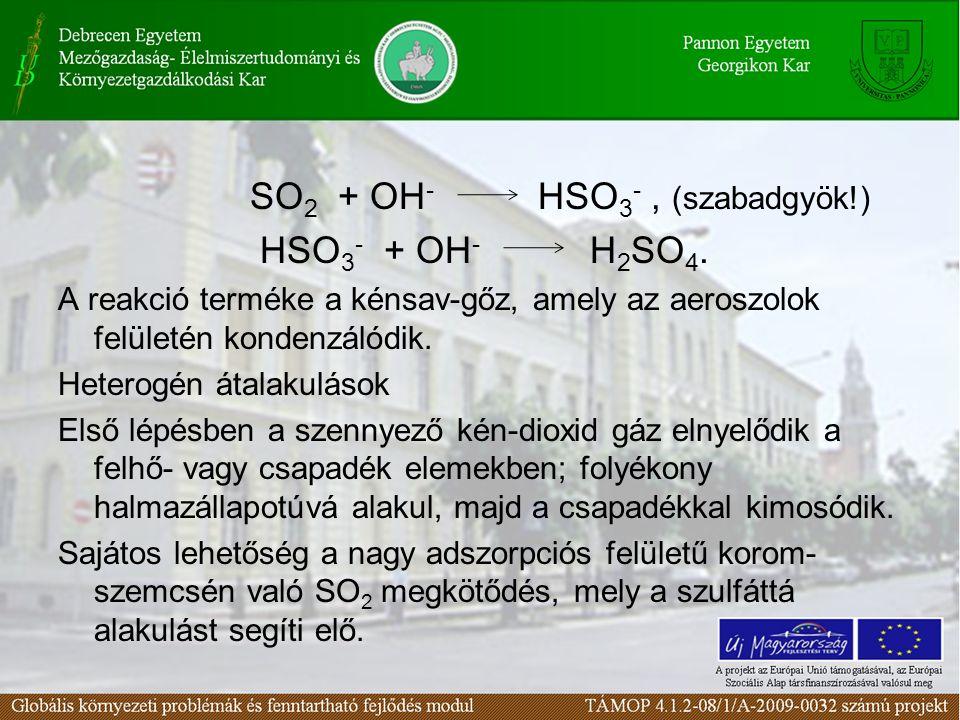 SO 2 + OH - HSO 3 -, (szabadgyök!) HSO 3 - + OH - H 2 SO 4. A reakció terméke a kénsav-gőz, amely az aeroszolok felületén kondenzálódik. Heterogén áta