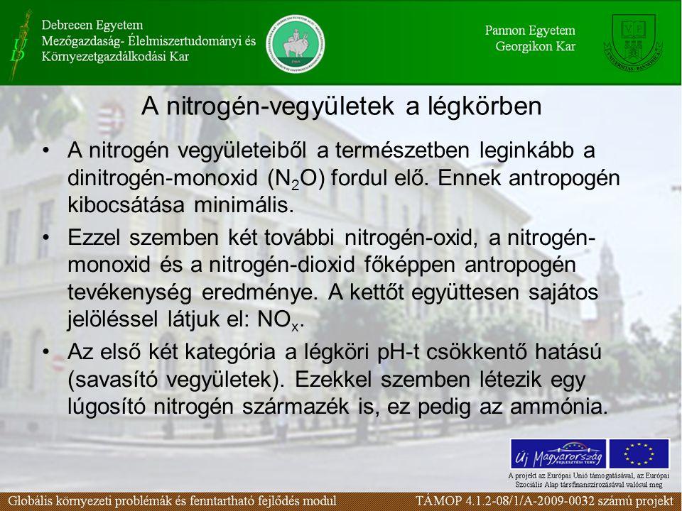 A nitrogén-vegyületek a légkörben A nitrogén vegyületeiből a természetben leginkább a dinitrogén-monoxid (N 2 O) fordul elő. Ennek antropogén kibocsát