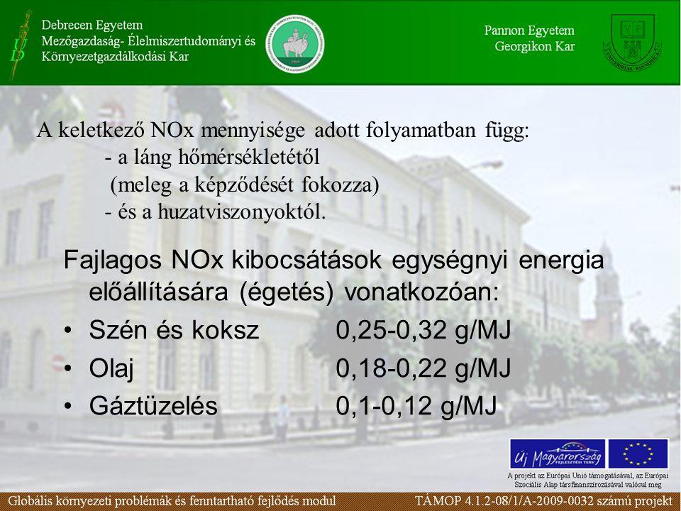 A keletkező NOx mennyisége adott folyamatban függ: - a láng hőmérsékletétől (meleg a képződését fokozza) - és a huzatviszonyoktól. Fajlagos NOx kibocs