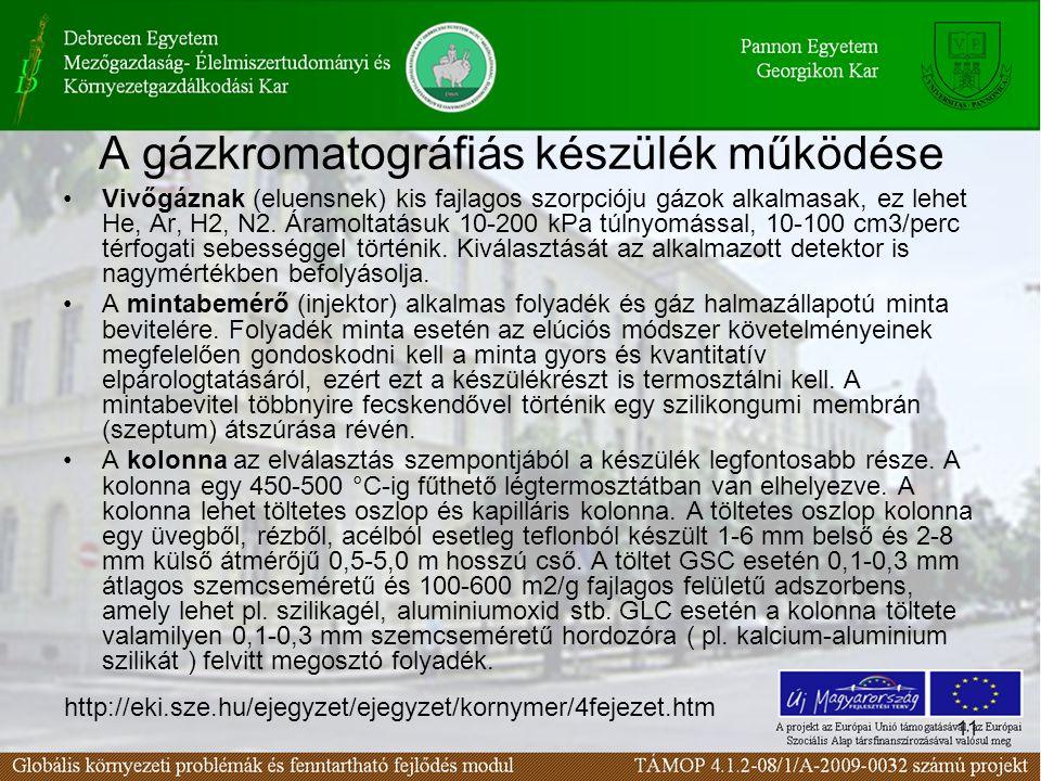 11 A gázkromatográfiás készülék működése Vivőgáznak (eluensnek) kis fajlagos szorpcióju gázok alkalmasak, ez lehet He, Ar, H2, N2. Áramoltatásuk 10-20