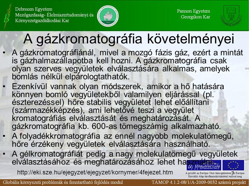 7 A gázkromatográfia követelményei A gázkromatográfiánál, mivel a mozgó fázis gáz, ezért a mintát is gázhalmazállapotba kell hozni. A gázkromatográfia