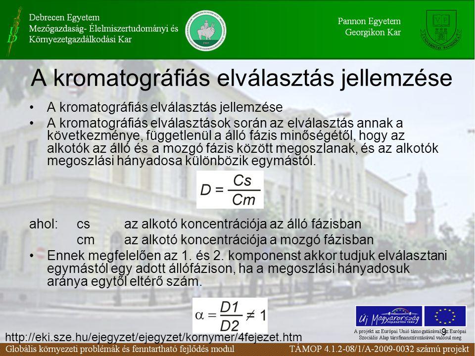 9 A kromatográfiás elválasztás jellemzése A kromatográfiás elválasztások során az elválasztás annak a következménye, függetlenül a álló fázis minőségé
