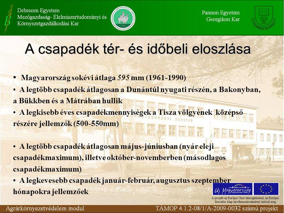 A csapadék tér- és időbeli eloszlása Magyarország sokévi átlaga 595 mm (1961-1990) A legtöbb csapadék átlagosan a Dunántúl nyugati részén, a Bakonyban, a Bükkben és a Mátrában hullik A legkisebb éves csapadékmennyiségek a Tisza völgyének középső részére jellemzők (500-550mm) A legtöbb csapadék átlagosan május-júniusban (nyár eleji csapadékmaximum), illetve október-novemberben (másodlagos csapadékmaximum) A legkevesebb csapadék január-február, augusztus szeptember hónapokra jellemzőek