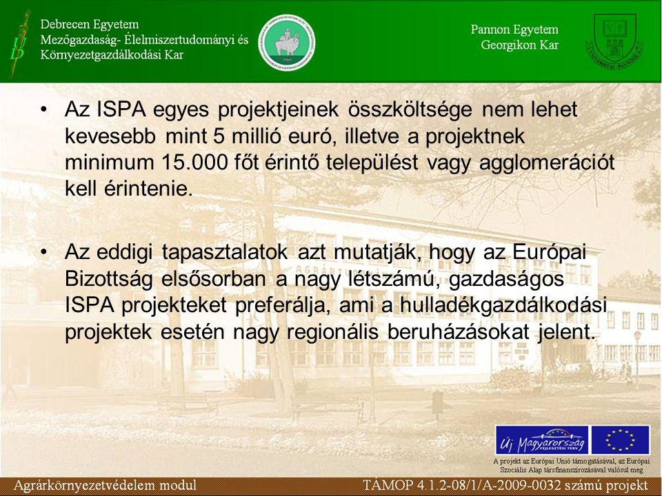 Az ISPA egyes projektjeinek összköltsége nem lehet kevesebb mint 5 millió euró, illetve a projektnek minimum 15.000 főt érintő települést vagy agglomerációt kell érintenie.