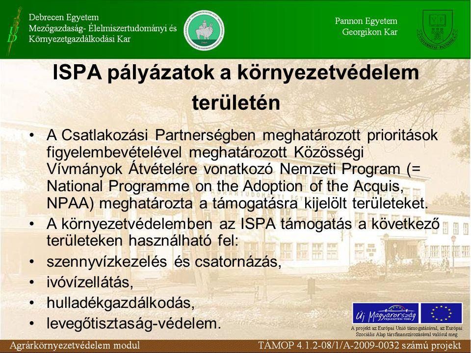ISPA pályázatok a környezetvédelem területén A Csatlakozási Partnerségben meghatározott prioritások figyelembevételével meghatározott Közösségi Vívmányok Átvételére vonatkozó Nemzeti Program (= National Programme on the Adoption of the Acquis, NPAA) meghatározta a támogatásra kijelölt területeket.