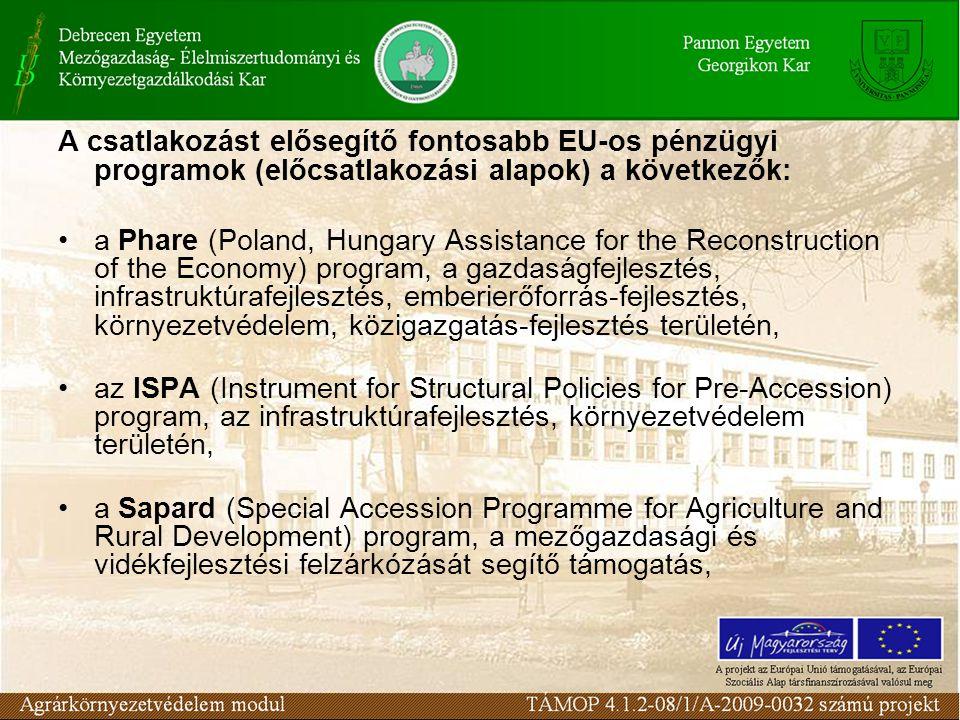 A csatlakozást elősegítő fontosabb EU-os pénzügyi programok (előcsatlakozási alapok) a következők: a Phare (Poland, Hungary Assistance for the Reconstruction of the Economy) program, a gazdaságfejlesztés, infrastruktúrafejlesztés, emberierőforrás-fejlesztés, környezetvédelem, közigazgatás-fejlesztés területén, az ISPA (Instrument for Structural Policies for Pre-Accession) program, az infrastruktúrafejlesztés, környezetvédelem területén, a Sapard (Special Accession Programme for Agriculture and Rural Development) program, a mezőgazdasági és vidékfejlesztési felzárkózását segítő támogatás,