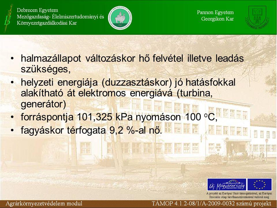 halmazállapot változáskor hő felvétel illetve leadás szükséges, helyzeti energiája (duzzasztáskor) jó hatásfokkal alakítható át elektromos energiává (