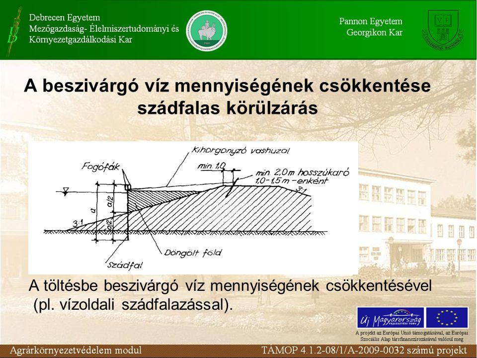 A beszivárgó víz mennyiségének csökkentése szádfalas körülzárás A töltésbe beszivárgó víz mennyiségének csökkentésével (pl. vízoldali szádfalazással).