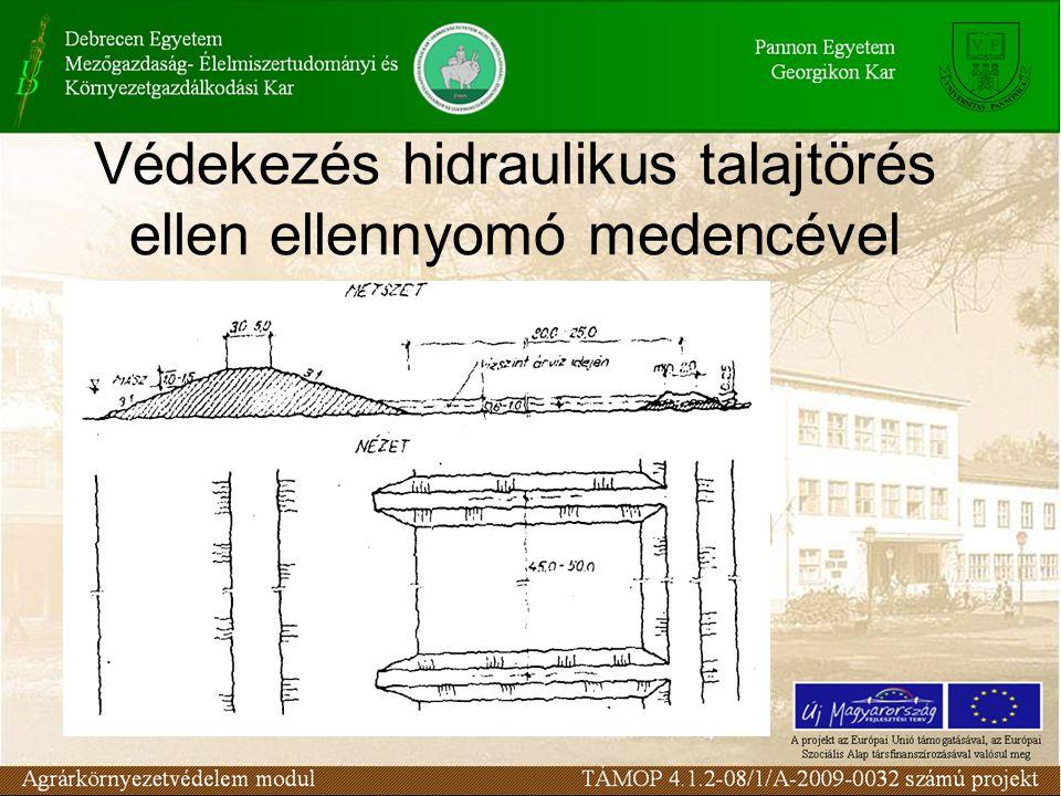 Védekezés hidraulikus talajtörés ellen ellennyomó medencével
