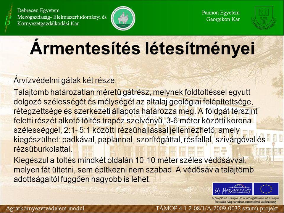 Ármentesítés létesítményei Árvízvédelmi gátak két része: Talajtömb határozatlan méretű gátrész, melynek földtöltéssel együtt dolgozó szélességét és mé