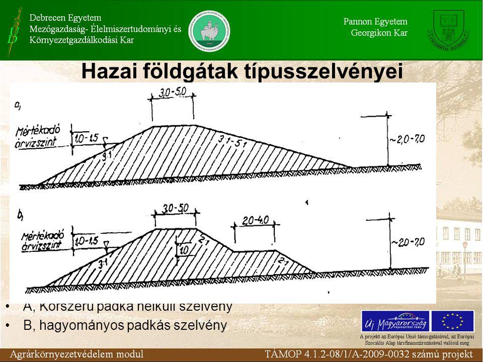 Hazai földgátak típusszelvényei A, Korszerű padka nélküli szelvény B, hagyományos padkás szelvény