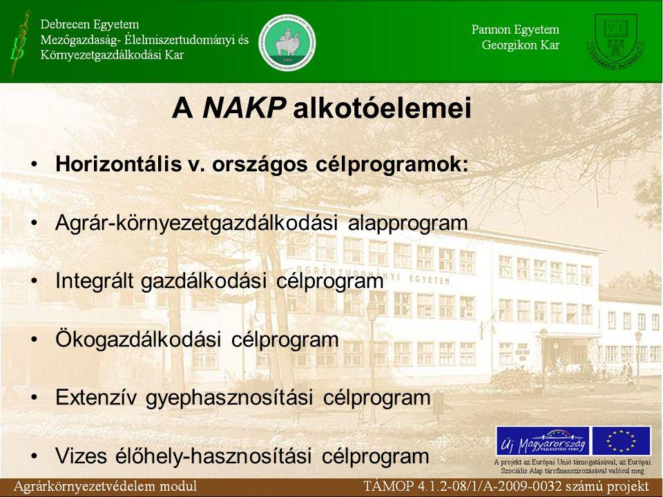 A NAKP alkotóelemei Horizontális v. országos célprogramok: Agrár-környezetgazdálkodási alapprogram Integrált gazdálkodási célprogram Ökogazdálkodási c